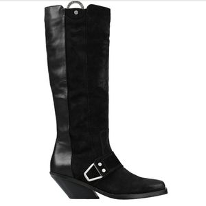 Diesel Ditty paneled tall buckle leather moto boot